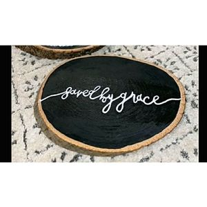 Saved by Grace Rustic Wood Slice Sign